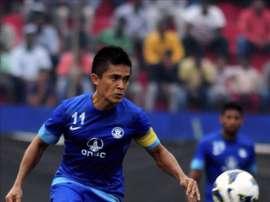 El capitán de la selección india Sunil Chhetri. EFE/Archivo