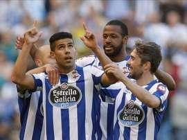 Los jugadores del Deportivo celebran un gol en el estadio de Riazor. EFE/Archivo