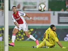 Anwar El Ghazi, en un encuentro con el Ajax. Twitter