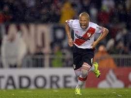 Carlos Sánchez de River Plate festeja su gol contra Tigres de México, el pasado 5 de agosto, en la final de la Copa Libertadores realizada en el Estadio Monumental de Buenos Aires (Argentina). EFE