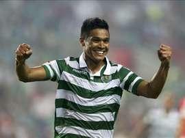 Teo Gutiérrez adelantó al Sporting en el minuto 7 de partido. AFP