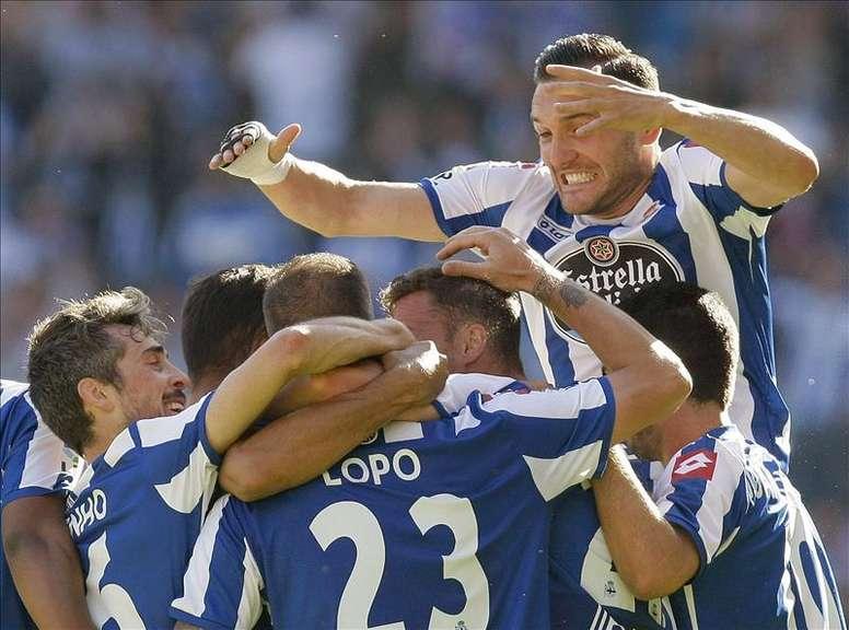 Los jugadores del Deportivo celebran un gol. EFE/Archivo