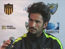 El defensa argentino del Málaga Angeleri, en una rueda de prensa el pasado mes de julio. EFE/Archivo