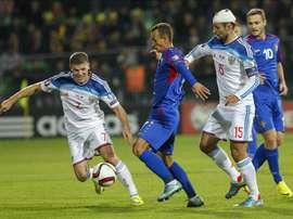 Imagen de un partido entre Moldavia y Rusia el pasado 9 de octubre. EFE
