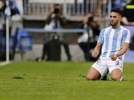 El delantero marroquí del Málaga, Adname Tighadouini en el estadio malacitano de la Rosaleda. EFE /Archivo