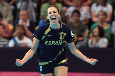 La jugadora de España Elizabeth Pinedo celebra un gol. EFE/Archivo