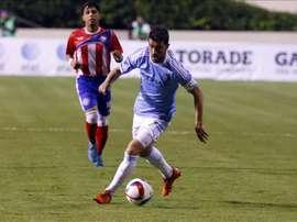 David Villa de New York City FC en acción ante Puerto Rico, este 11 de diciembre, durante un juego amistoso en el estadio Juan Ramón Loubriel de Bayamón, municipio aledaño a San Juan (Puerto Rico). EFE