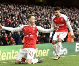 Chambers celebrates scoring against Burnley in the FA Cup. EFE
