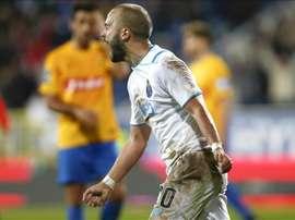 El jugador del FC Porto  Andre Andre celebra un gol durante el partido de la Liga Portuguesa que ha medido a Estoril y FC Porto en el Antonio Coimbra da Mota en Estoril, Portugal. EFE/EPA