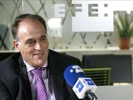El presidente de la Liga, Javier Tebas. EFE/Archivo
