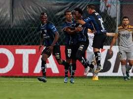 Luis Caicedo celebra un tanto para Independiente del Valle en otro partido de la Libertadores. EFE