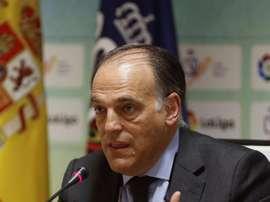 La LFP, con Tebas al frente, ha respaldado la denuncia por supuestos amaños en Tercera. EFE