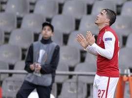 El jugador del Sporting de Braga Josué celebra un gol marcado ante el FC Sion durante el partido de vuelta de los dieciseisavos de final de la Liga Europa disputado en el Estadio Municipal de Braga, en Portugal. EFE