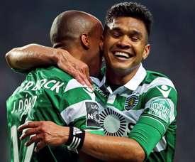 Teo Gutiérrez ha anotado hoy un doblete en la victoria del Sporting ante el Belenenses. EFE/EPA
