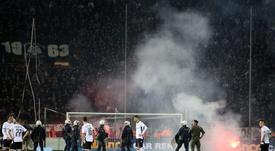 Scène du match entre le PAOK Salonique et l'Olympiakos. AFP
