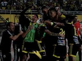 Jugadores del equipo venezolano Deportivo Táchira. EFE/Archivo