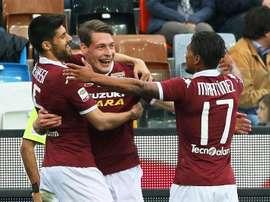 Andrea Belotti resgatou o Torino com uma cabeçada certeira. EFE/EPA