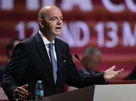El presidente de la FIFA, el suizo Gianni Infantino, habla durante el 66° Congreso de la FIFA hoy, viernes 13 de mayo de 2016, que se desarrolla en Ciudad de México. EFE