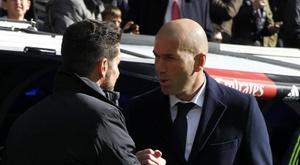 Zidane elogiou o técnico do Atlético de Madrid, Diego Simeone. EFE/Archivo