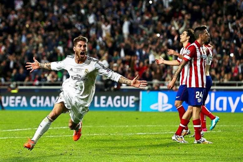 Ramos marcó el 1-1 que forzó la prórroga en el minuto 93. EFE