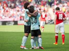 Los jugadores belgas  celebran un gol durante el amistoso que han jugado Suiza y Bélgica en Ginebra, Suiza.  EFE/EPA
