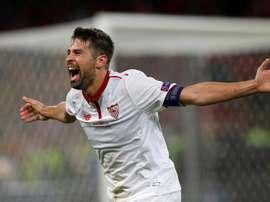 Le milieu de terrain et capitaine du FC Séville, Jorge Andújar 'Coke' pendant un match. EFE
