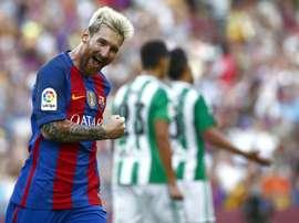 L'Argentin Messi célèbre un but avec le Barcelone en Liga. EFE