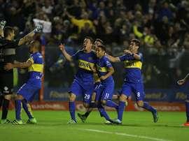 Los jugadores de Boca Juniors festejan un gol. EFE/Archivo