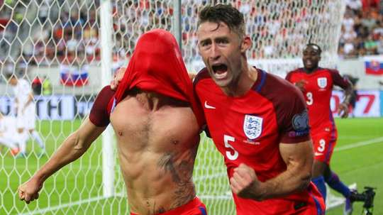 Adam Lallana (left) scored with the last kick of the match to give England a 1-0 win over Slovakia in Trnava on September 4, 2016
