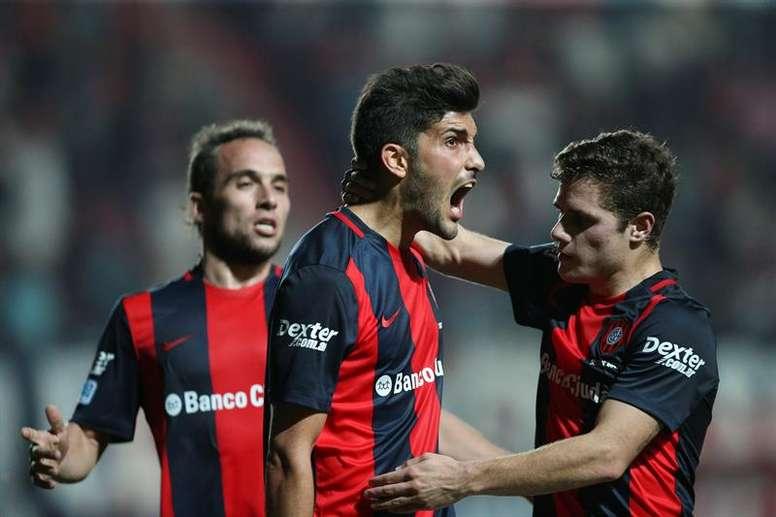 Nicolás Blandi falló un penalti en el partido ante Banfield. EFE/Archivo
