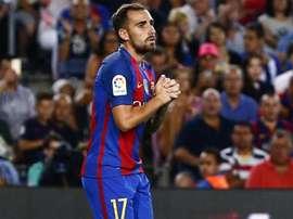 L'attaquant du FC Barcelone, Paco Alcacer dans un match de Liga. EFE/Archivo
