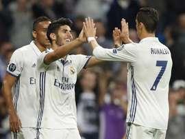 Ronaldo celebrates his team-mate's goal. AFP