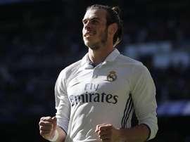 Le joueur gallois du Real Madrid Gareth Bale célèbre un but pendant un match de Liga. EFE