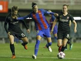 La Barcelonaise Jennifer Hermoso a inscrit un but magnifique contre Twente. EFE
