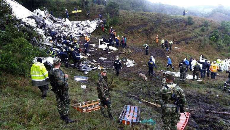 The plane carrying the Chapecoense team crashed just outside the city of Medellin, Colombia. EFE