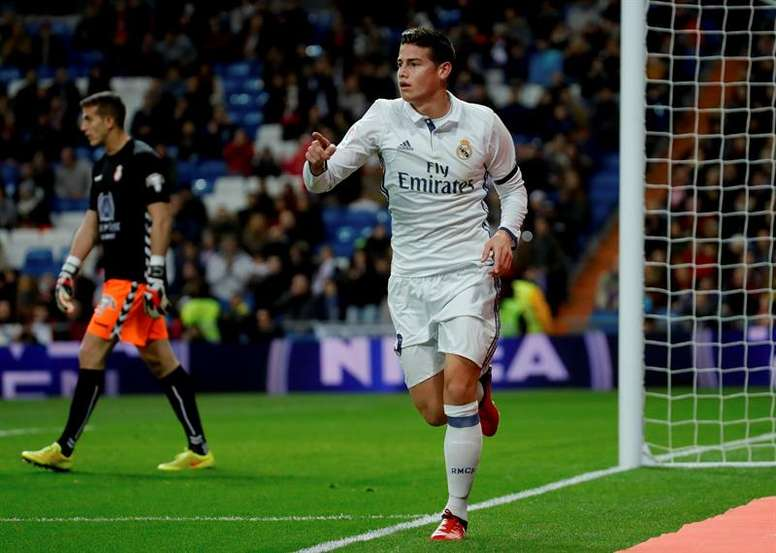 James celebrating a goal. AFP