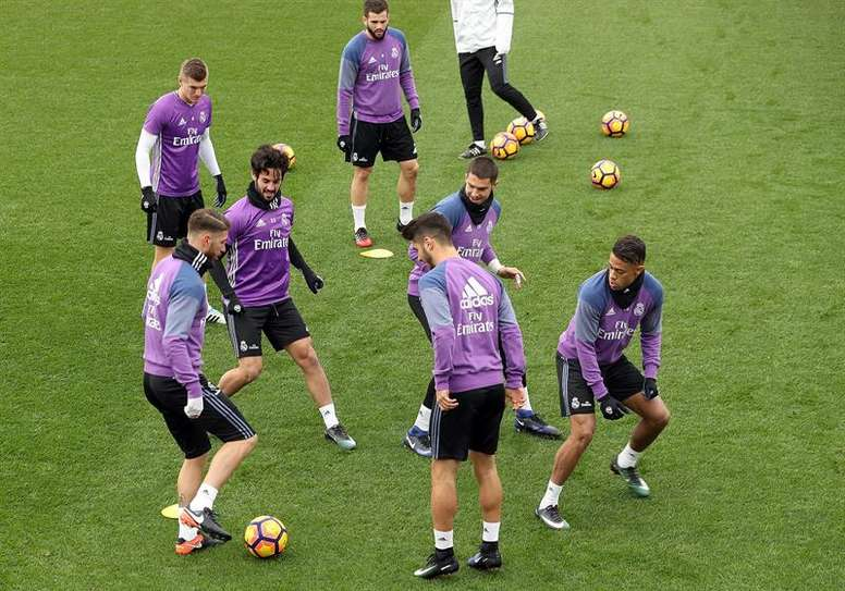 Real Madrid players in a trainings session. AFP