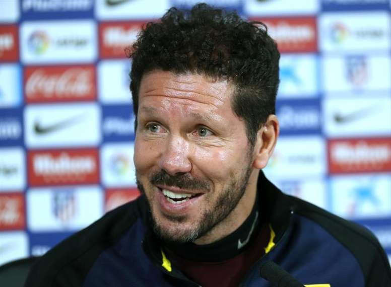 Simeone speaks at a press conference. AFP