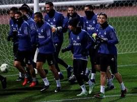 Plusieurs joueurs du Real Madrid pendant l'entraînement de l'équipe. EFE