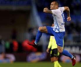 Sandro marcou o segundo tento do Málaga e destacou como um dos melhores jogadores da partida. EFE