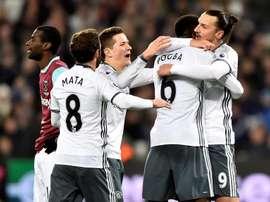 La joie des joueurs 'mancuniens' après le but de Zlatan Ibrahimovic contre West Ham. EFE