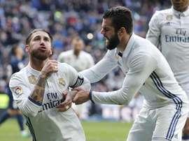 Sergio Ramos et Nacho Fernández lors du match de Liga contre Malaga. EFE