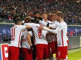 RB Leipzig bateu o Hertha por quatro bolas a uma. EFE/EPA