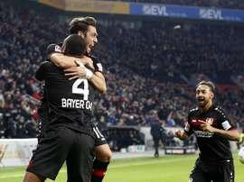 Bellarabi anotó el tanto 50.000 de la competición alemana. AFP