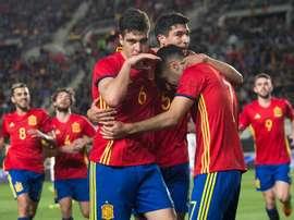 España Sub 21 derrotó a Dinamarca en Murcia con goles de Merino, Saúl y Denis. EFE