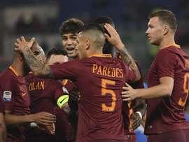 Les joueurs de l'AS Roma célèbrent un but contre Empoli en Serie A. EFE/EPA