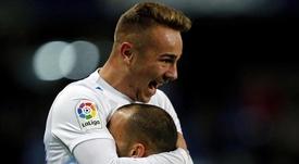 Sandro et Ontiveros, attaquant et milieu de Malaga, célèbrent la victoire en Liga. EFE
