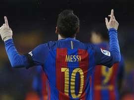 La dedicatoria especial de Messi. EFE