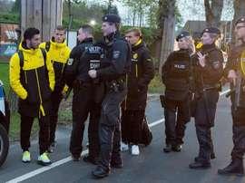 Los jugadores del Borussia Dortmund, tras el atentado de abril de 2017. EFE