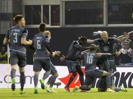 Les joueurs du Celta Vigo célèbrent le but d'Iago Aspas au stade Balaidos. EFE